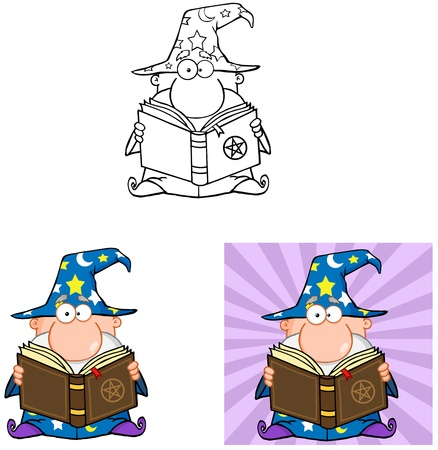 pentagram: Wizard Cartoon Characters  Collection 5 Illustration