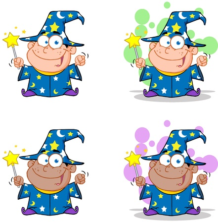 Wizard Boy Waving With Magic Wand  Collection Vector