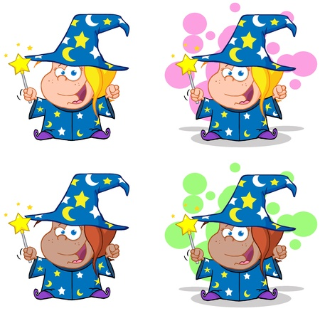 bewitch: Wizard Girl Waving With Magic Wand  Collection Illustration