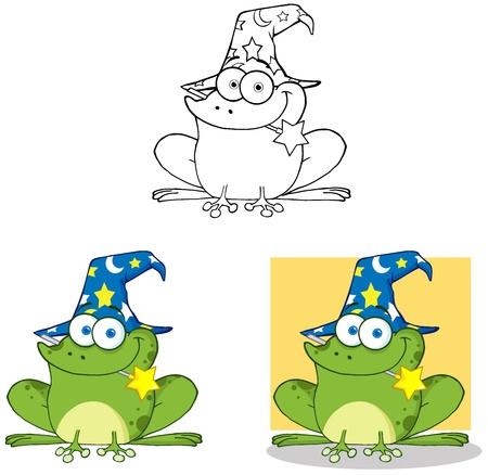 Wizard Frog With A Magic Wand Collection Vector
