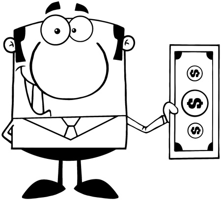Outlined Smiling Business Man Holding A Dollar Bill Stock Vector - 18851152