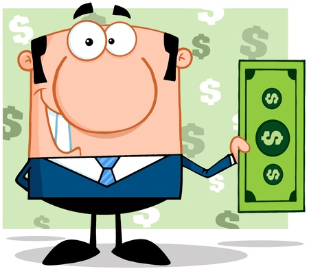 lucky man: Smiling Business Manager Holding A Dollar Bill