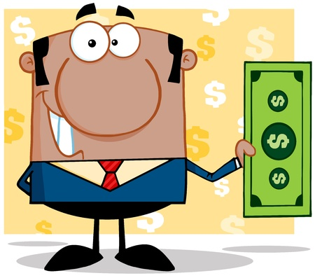 Smiling African American Business Manager Holding A Dollar Bill Stock Vector - 18851158