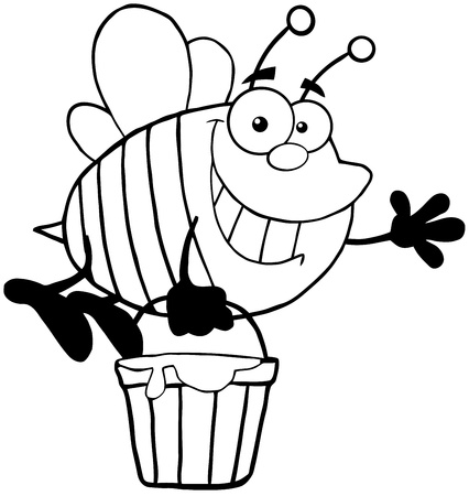 Outlined Smiling Bee Flying With A Honey Bucket And Waving For Greeting