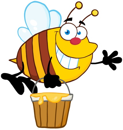 Smiling Bee Flying With A Honey Bucket And Waving For Greeting