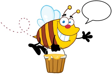 bee pollen: Smiling Bee Flying With A Honey Bucket And Speech Bubble