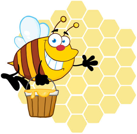 Smiling Bee Flying With A Honey Bucket In Front Of A Bee Hives Vector