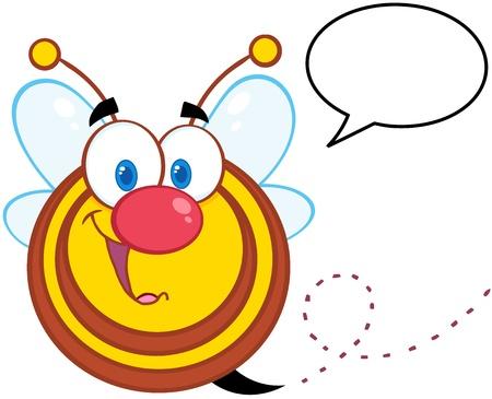 Cute Honey Bee Cartoon Mascot Character With Speech Bubble Ilustracja