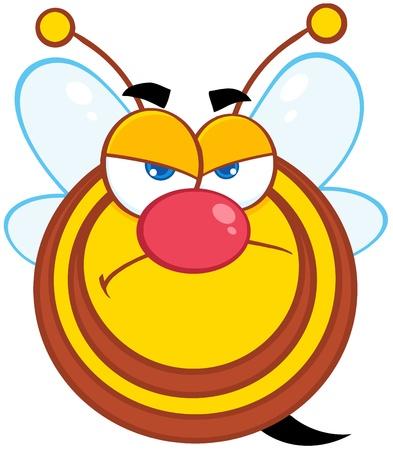 Angry Bee Cartoon Mascot Character