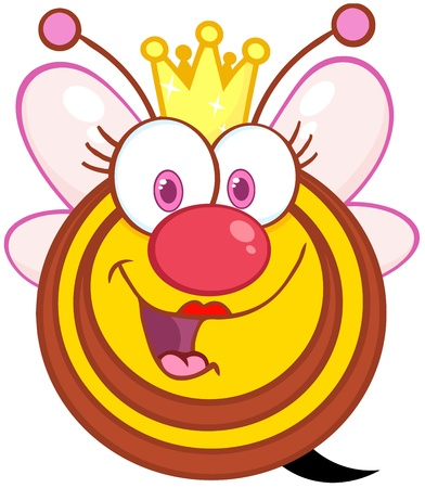Happy Queen Bee Cartoon Mascot Character Vector