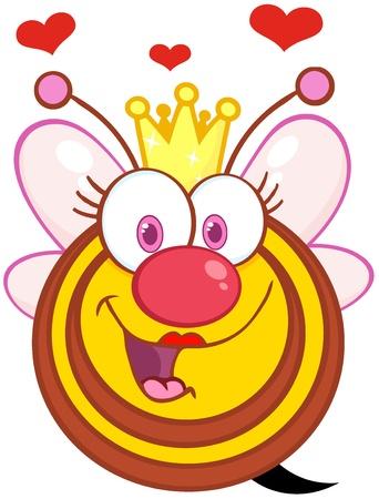 abeja reina: Queen Bee Happy Cartoon Mascot Character Con Corazones