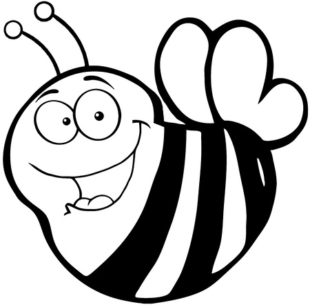 pollinator: Outlined Happy Bee Cartoon Mascot Character