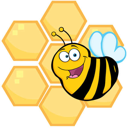 Happy Bee In Front Of A Orange Bee Hives Vector