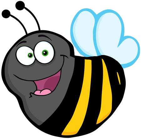 Flying Bee Cartoon Mascot Character Vectores