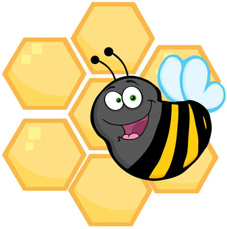 Smiling Bee In Front Of A Orange Bee Hives Vector