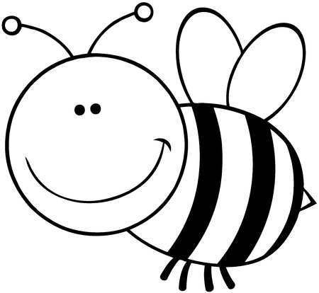 Outlined Bee Cartoon Mascot Character