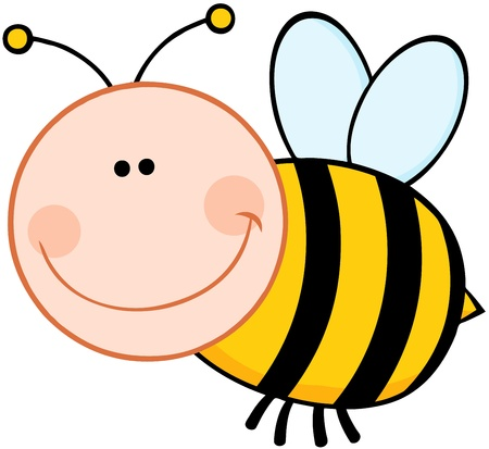 Smiling Bumble Bee Cartoon Mascot Character Flying Illustration