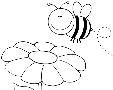 Outlined Bumble Bee Flying Over Flower