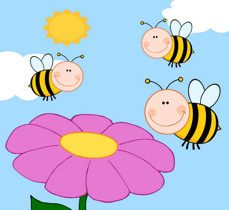 Three Bees Flying Over Flower Vector