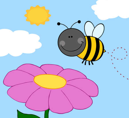 Smiling Bumble Bee Flying Over Flower Vector