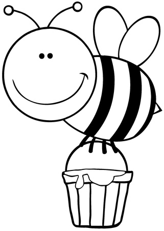 honeybee: Outlined Bee Flying With A Honey Bucket Illustration