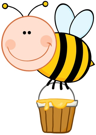 pollinator: Smiling Bee Flying With A Honey Bucket Illustration