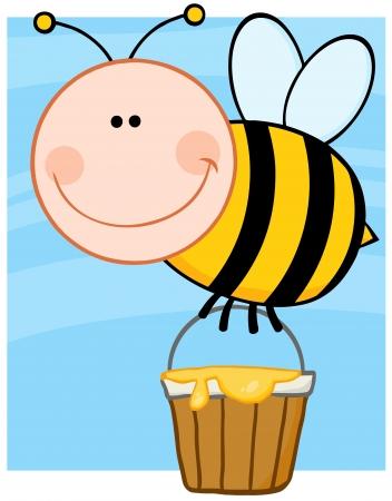 Happy Bee Flying With A Honey Bucket Vector