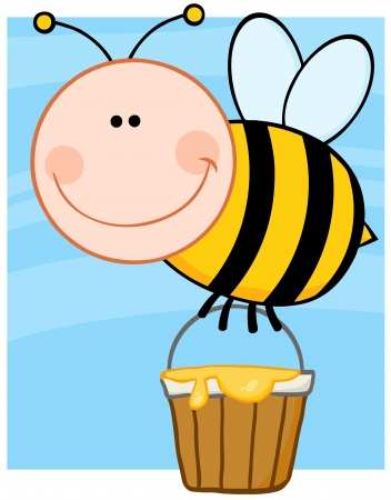pollinator: Happy Bee Flying With A Honey Bucket Illustration