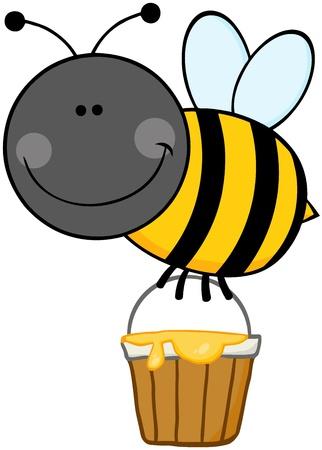 bumble bee: Cartoon Bee Flying With A Honey Bucket Illustration