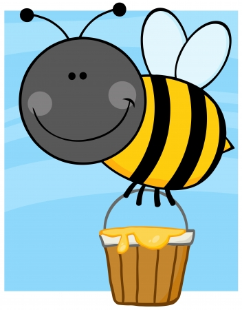Smiling Bee Cartoon Character Flying With A Honey Bucket Vector