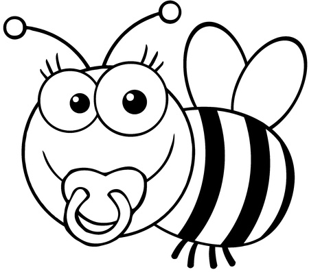 Outlined Baby Bee Cartoon Mascot Character Vector