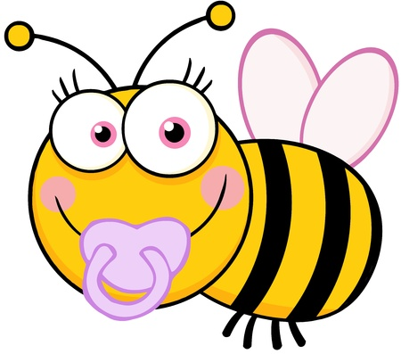 Baby Girl Bee Cartoon Mascot Character Vector
