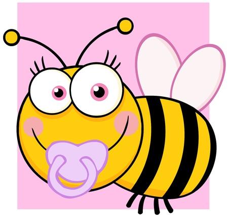 wesp: Baby Girl Bee stripfiguur Stock Illustratie