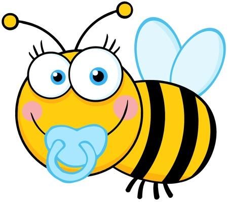 abeja reina: Baby Boy Bee Cartoon carácter de la mascota