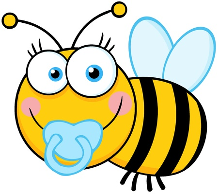 cartoon bug: Baby Boy Bee Cartoon Mascot Character Illustration
