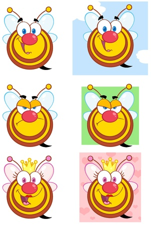 Cute Bees Cartoon Mascot Character Vector