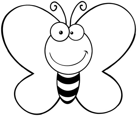 Geschetst Smiling Butterfly Cartoon Mascot Karakter