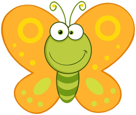Glimlachend Butterfly Cartoon Mascot Karakter Stock Illustratie