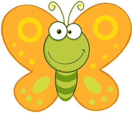 mariposa caricatura: Sonreír Butterfly Cartoon carácter de la mascota