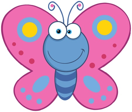 flaying: Smiling Butterfly Cartoon Character Illustration