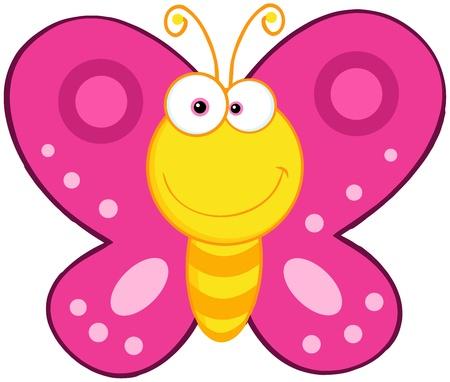 mariposa caricatura: Mariposa linda mascota de dibujos animados de caracteres