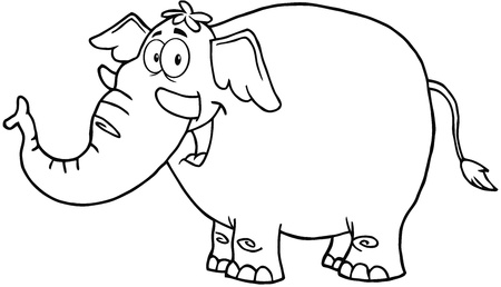 Outlined Elephant Cartoon Mascot Character