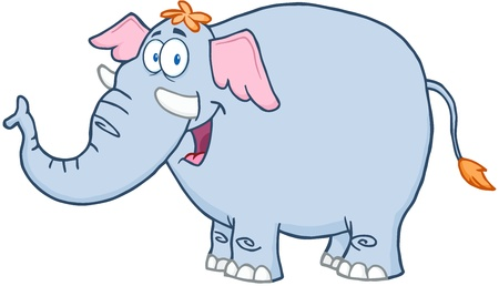 Happy Elephant Cartoon Mascot Character