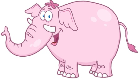 Happy Pink Elephant Cartoon Mascot Character Vector