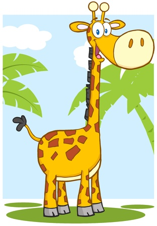 Happy Giraffe Cartoon Mascot Character With Background Stock Vector - 19480197