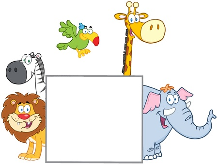Jungle Animals Behind A Blank Sign  Vector