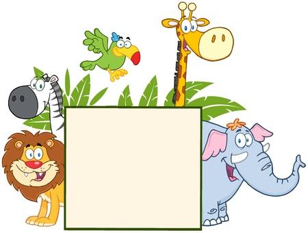 Jungle Animals Achter Een Leeg Teken Met Bladeren