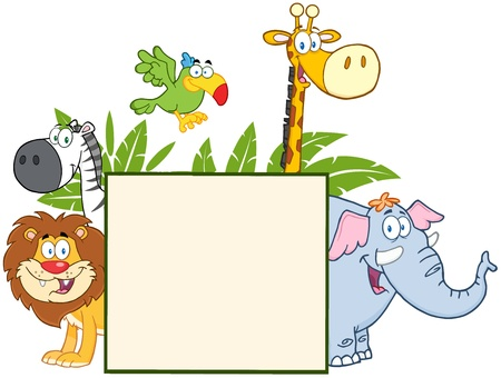 Jungle Animals Behind A Blank Sign With Leaves  Vector