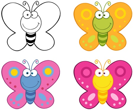 Smiling Butterflies Cartoon Mascot Characters Collection