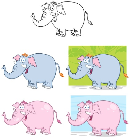 Elephants Cartoon Mascot Characters  Collection